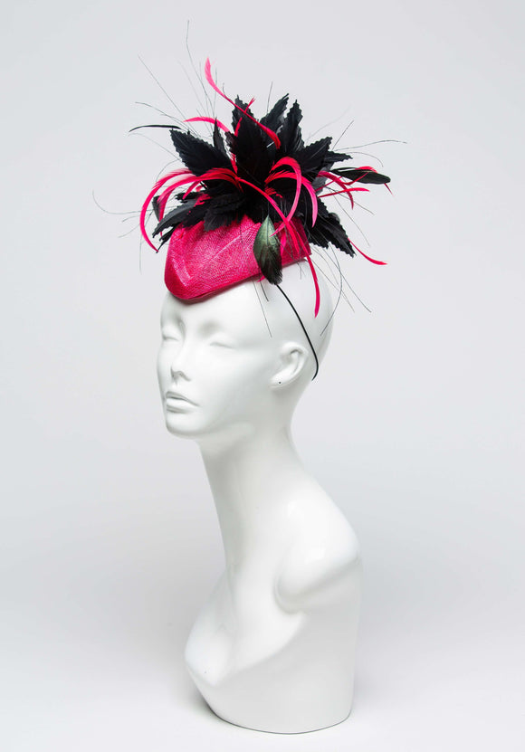 THG2023 - Hot Pink  Sinamay Cocktail Base with Black Goose  Feathers & Pink Biots