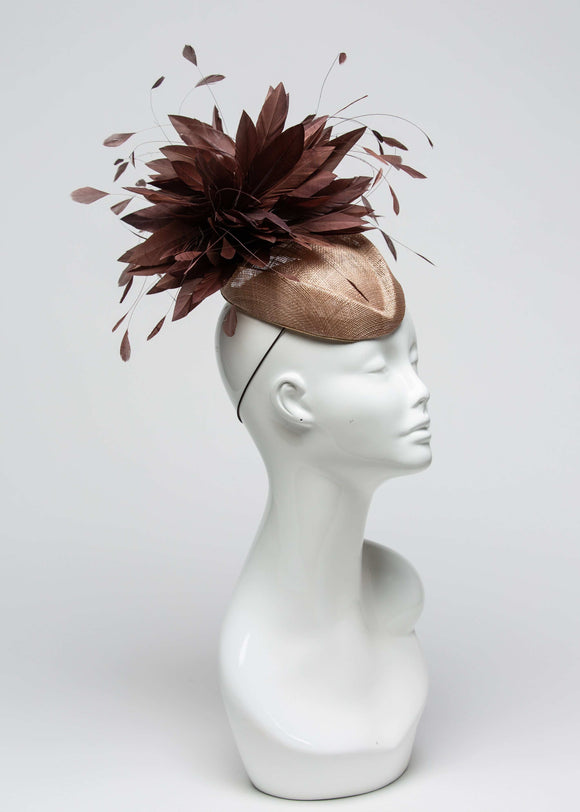 THG2024 - Tan Fascinator w/ Brown Goose Feathers [Avery] - The Hat Girls