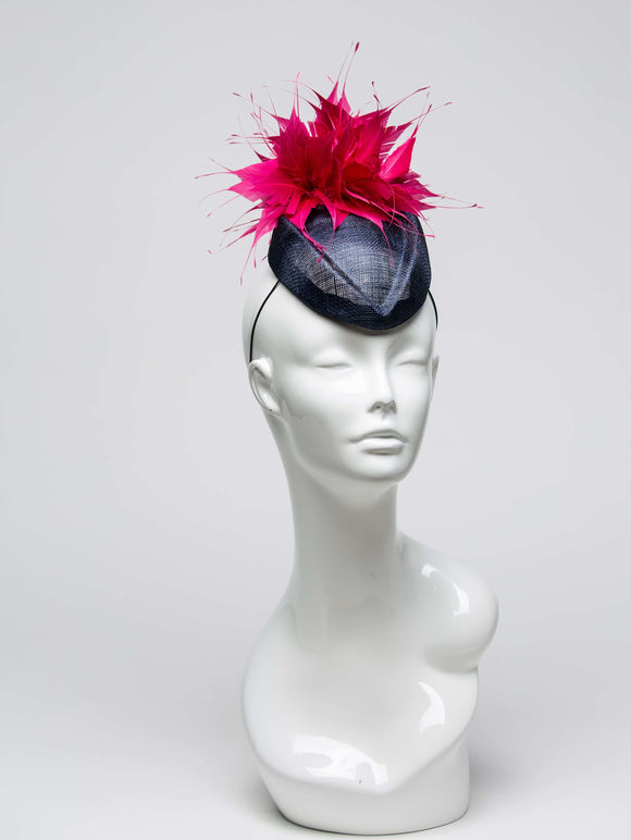 THG2027 - Light Navy Blue Sinamay Cocktail Base with Pink Spiky Feather Design