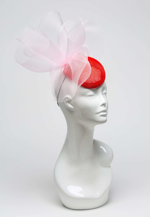 THG1003 - Red Fascinator w/ Pink Crinoline - The Hat Girls