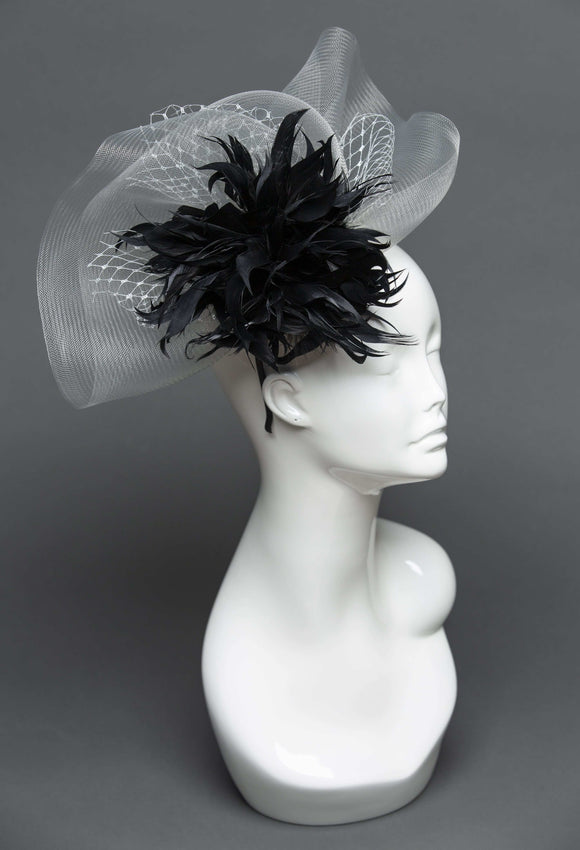 THG0806 - Silver and Black Fascinator - The Hat Girls