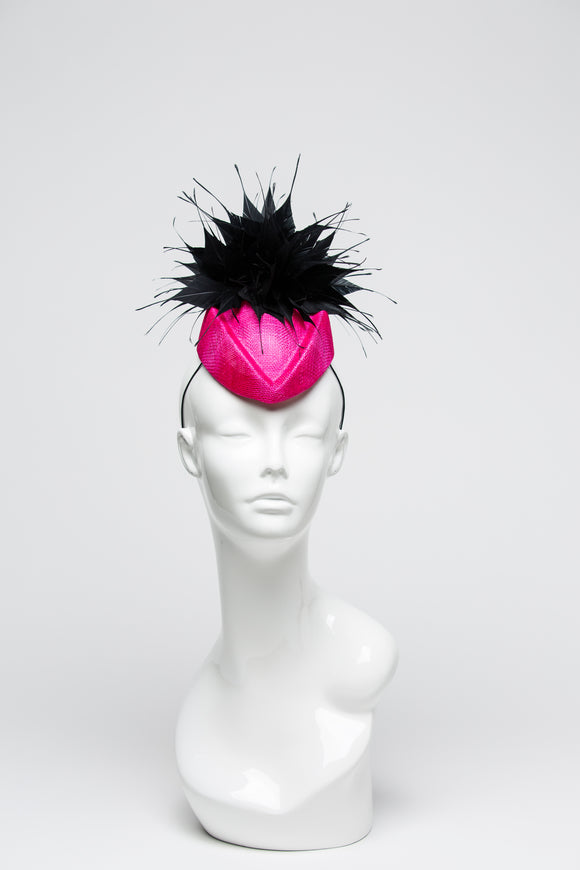Pink Sinamay Cocktail Base with Black Spiky Feather Design - THG2019