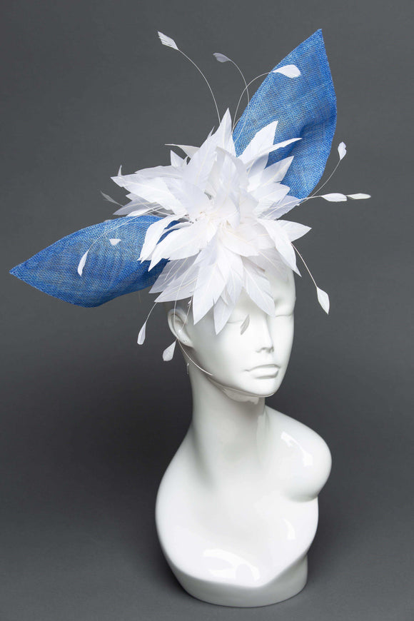THG2043 - Blue Sinamay Fascinator w/ White Feathers [Lucy] - The Hat Girls