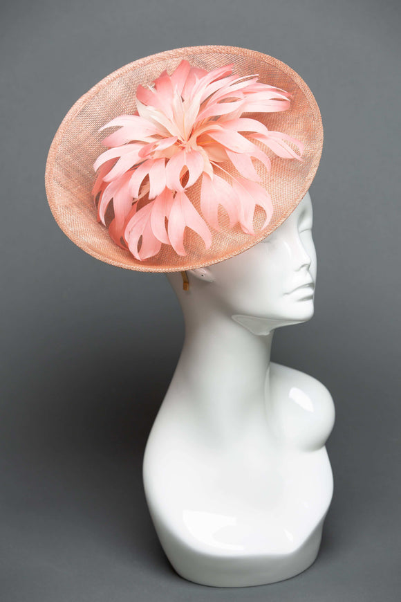 THG2077 - Tan Sinamay Bowl Fascinator with Coral Goose Feather Design