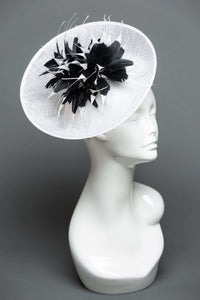 THG2078 - White Sinamay Bowl Fascinator with Black & White Feather Design