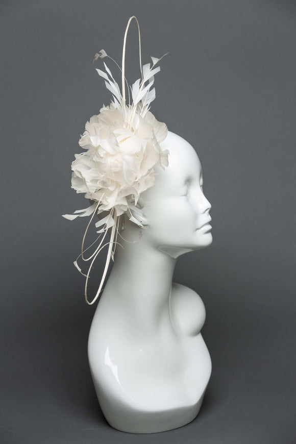 THG2080 - Ivory Feather Floral Fascinator
