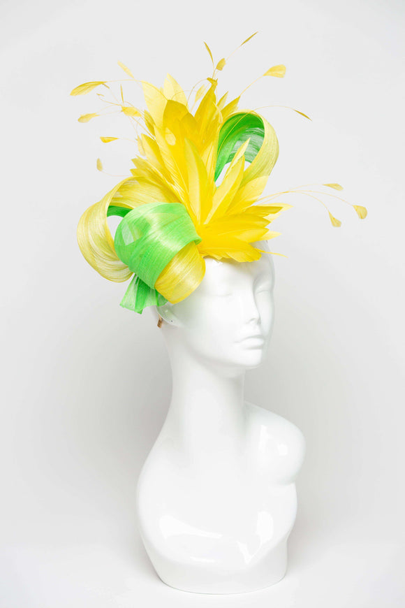 THG2098 - Hand-sculpted Yellow and Neon Green Silk Abaca Fascinator