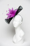 THG2102 - Hand-sculpted Black Sinamay Facsinator w/ Orchid Purple Goose Feather Centerpiece
