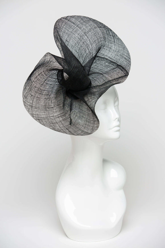 THG2103 - Hand-sculpted Black Sinamay Fascinator