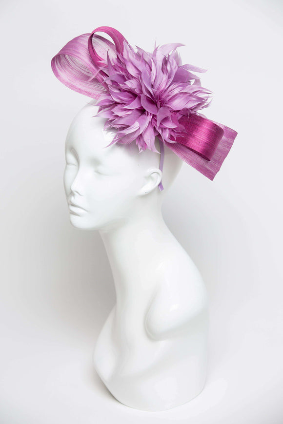 THG2110 - Shades of Purple Silk Abaca Bow with Lavender Feather Flower