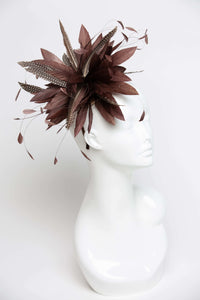 THG2115 - Brown Goose Feather Fascinator with Spotted Guinea Fowl Feathers