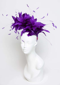 THG2119 - Royal Purple Goose Feather Fascinator