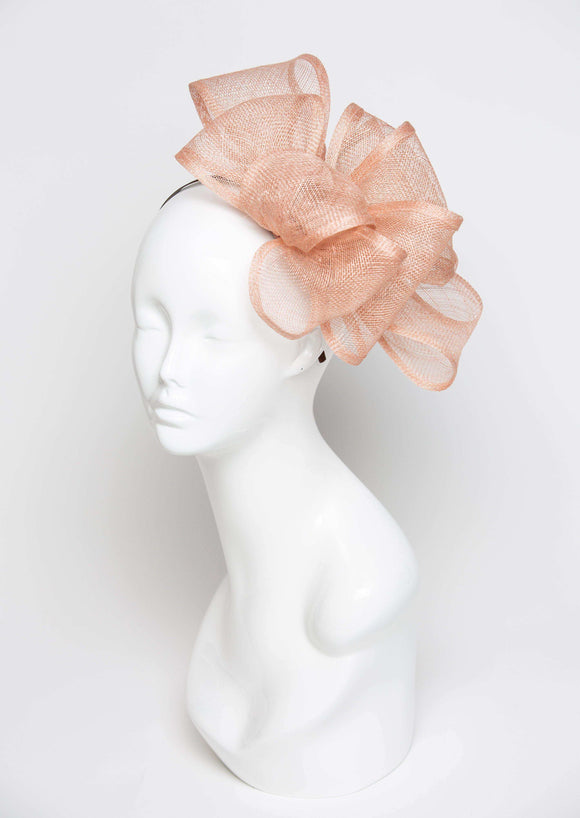 THG2132 - Beige Sand Colored Sinamay Fascinator - The Hat Girls