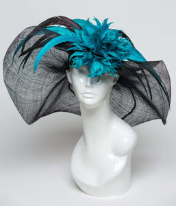 THG0952 - Black and Teal Kentucky Derby Hat