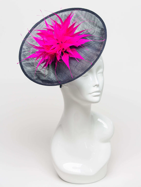 THG2300 - Navy Sinamay Saucer with Hot Pink Feathers