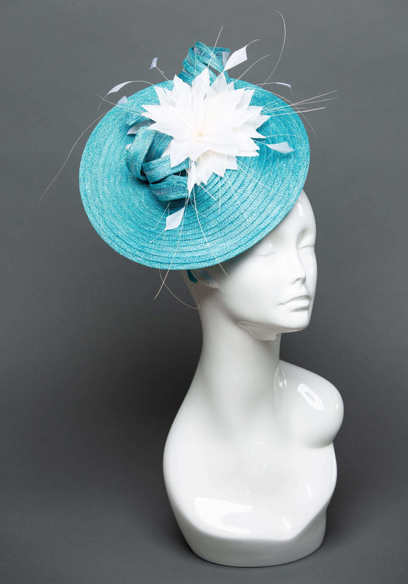 THG2327 - Aqua Blue Fascinator with White Feather Flower