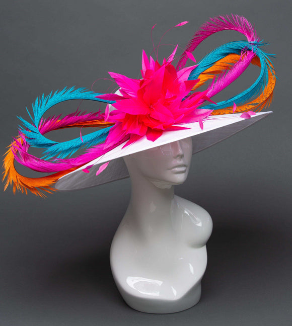 white hat with pink feather flower and colorful pheasant feathers