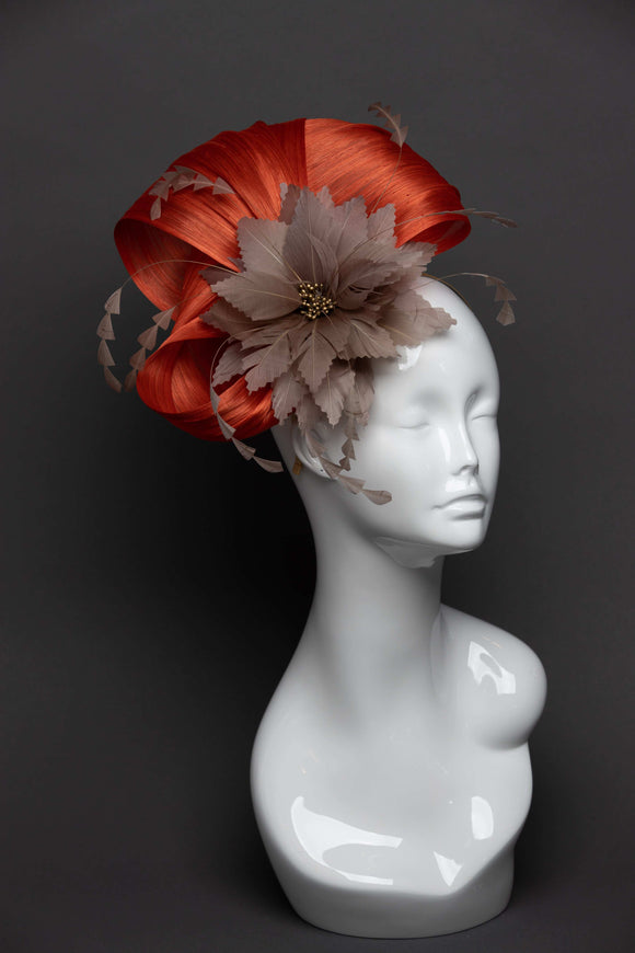 THG2655 - Orange Silk Abaca Fascinator w/ Tan Feather Flower