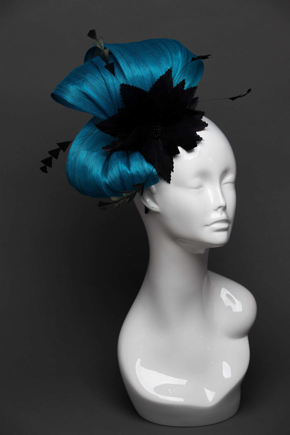 THG2656 - Blue Silk Abaca Fascinator w/ Black Feather Flower