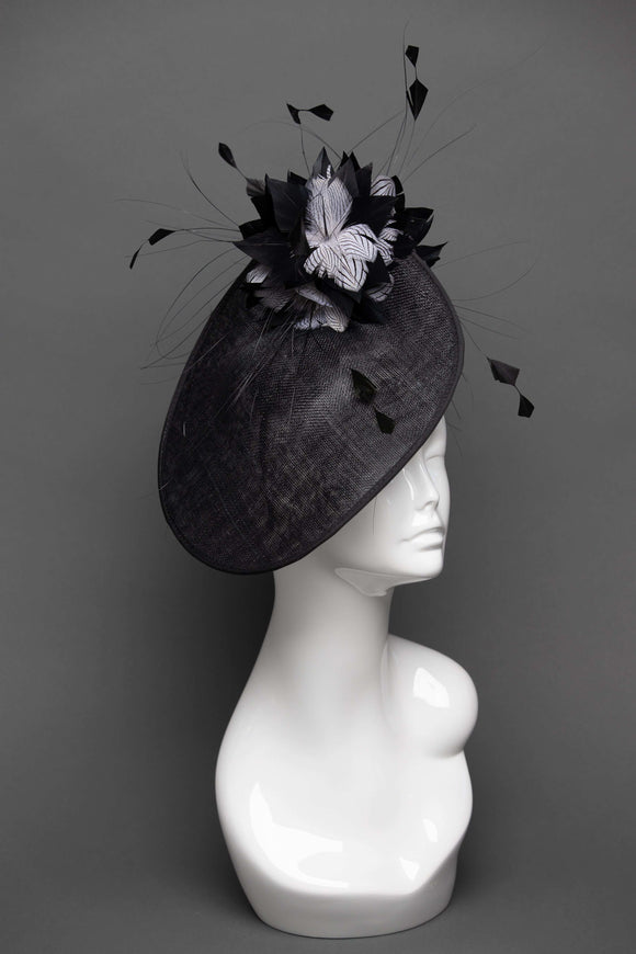 THG2659 - Black Sinamay Side Saucer w/ Feathers - The Hat Girls