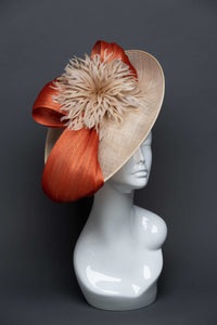 THG2664 - Nude Sinamay Fascinator w/ Orange Silk Abaca - The Hat Girls