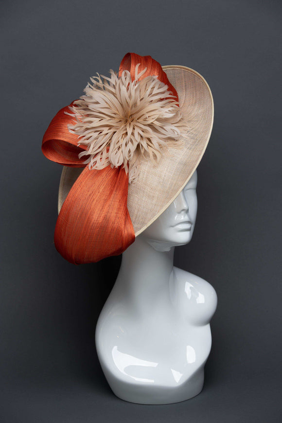 THG2664 - Nude Sinamay Side Saucer Fascinator w/ Orange Silk Abaca