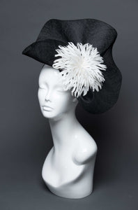 THG2670 - Black Sinamay Fascinator w/ White Feather Design