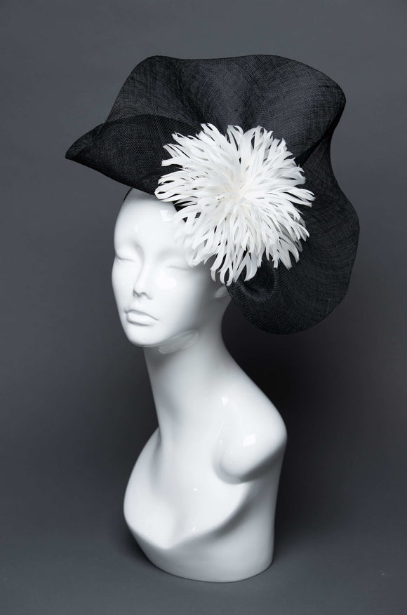 THG2670 - Black Fascinator w/ White Feathers - The Hat Girls