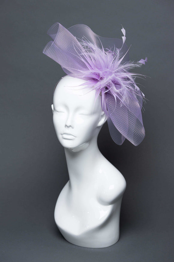 THG2677 - Light Purple Silk Abaca Fascinator
