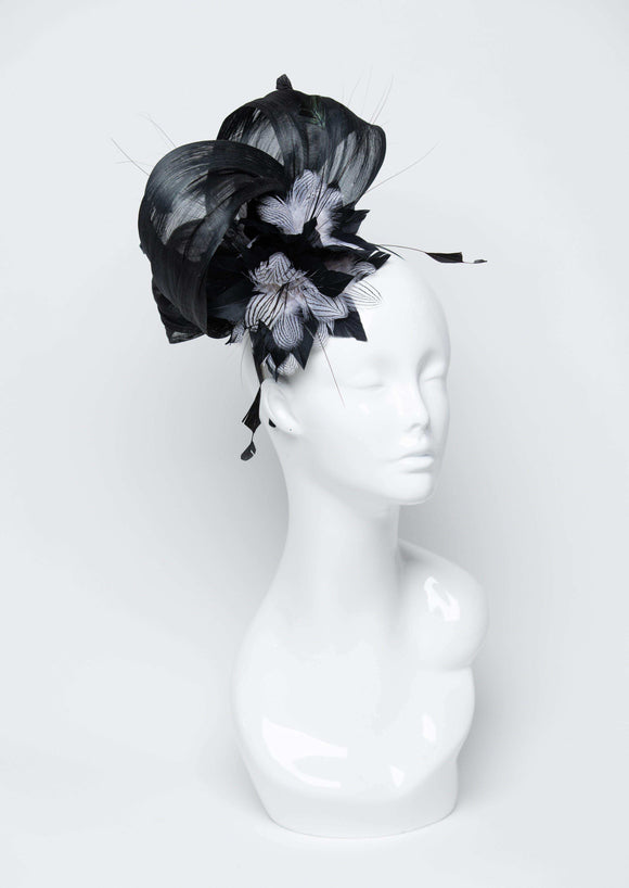 THG2683 - Gunmetal Grey Silk Abaca Fascinator w/ Feather Design