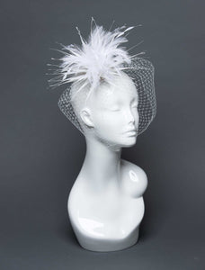 THG2690 - White Cocktail Fascinator w/ Veiling and Feathers - The Hat Girls