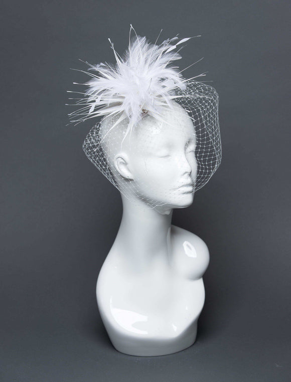 THG2690 - White Cocktail Fascinator w/ Veiling and Feathers