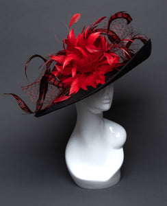 THG2696 - Black Hat w/ Red Feathers - The Hat Girls