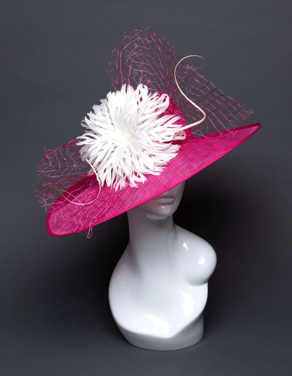 THG2697 - Bright Pink Sinamay Hat w/ White Feathers
