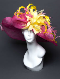 THG2698 - Floppy Pink Hat with Yellow Feathers - The Hat Girls