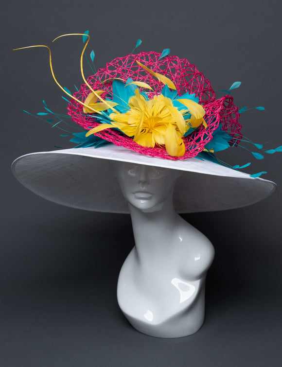 THG2707 - White Hat with Pink, Yellow, and Blue Feather Decor - The Hat Girls