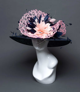 THG2714 - Navy Blue and Pink Hat with Goose Feathers - The Hat Girls