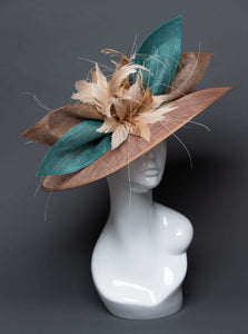 THG2722 - Brown and Teal Sinamay Hat w/ Nude Goose Feathers