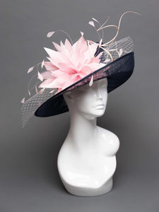THG2727 - Navy Blue Hat w/ Light Pink Feathers and Veiling - The Hat Girls