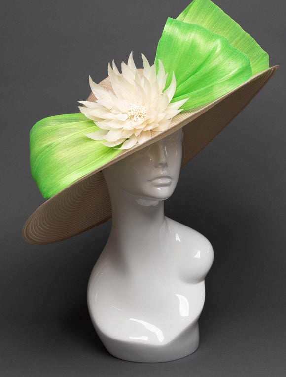 THG2729 - Nude Hat w/ Neon Green Silk Abaca and Ivory Feather Flower - The Hat Girls