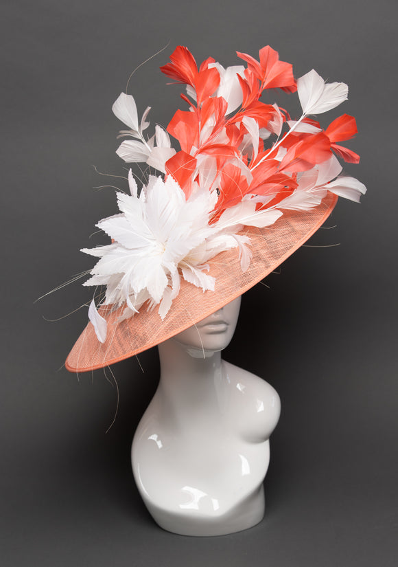 THG2743 - Coral and White Hat w/ Feather Design