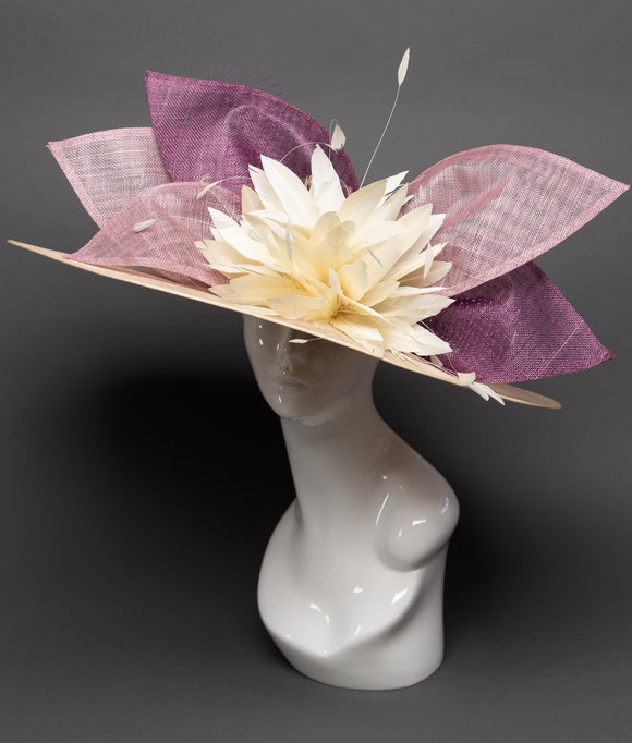 THG2748 - Nude Hat with Purple and Mauve Pink Sinamay Pieces and Ivory Goose Feathers