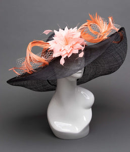 THG2751 - Black and Coral Hat with Feathers, Kentucky Derby - The Hat Girls