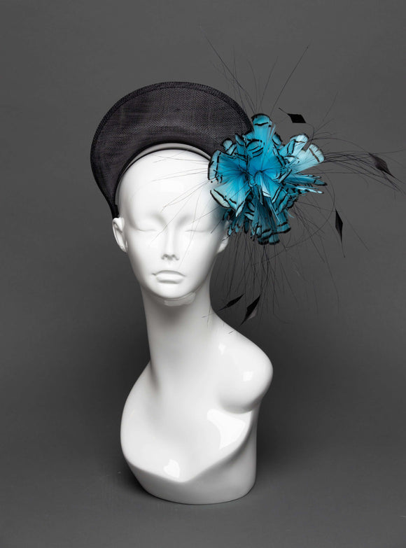THG2792 - Black Crown Headband with Blue Feather Design - The Hat Girls