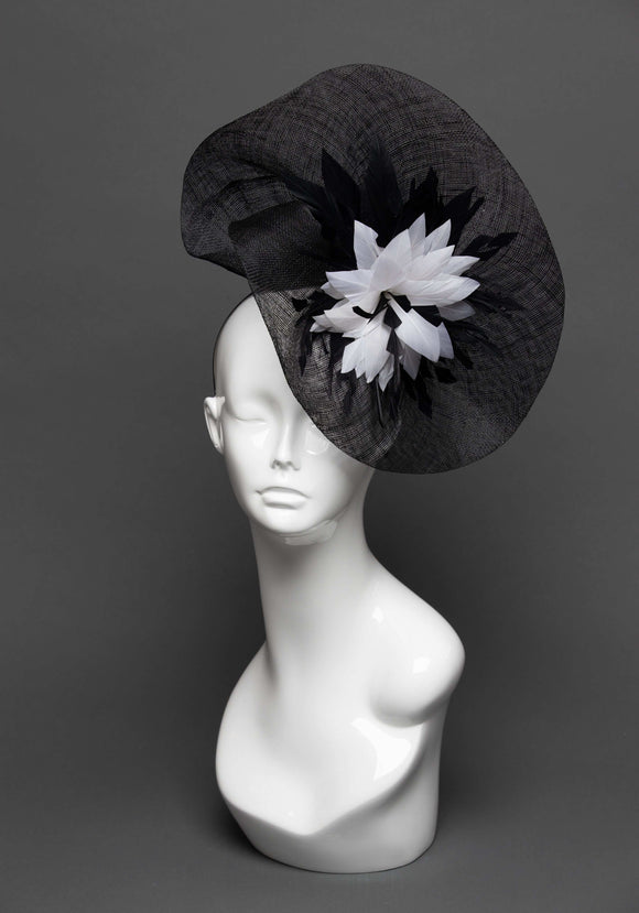 THG2795 - Black Sinamay Fascinator with Black & White Feather Decor - The Hat Girls