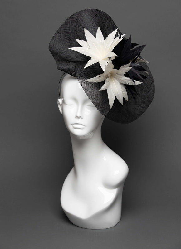 THG2796 - Black Sinamay Fascinator with Feather Flower Decor - The Hat Girls