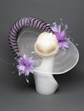 THG2845 - Ivory and Lavender Hat w/ Flowers