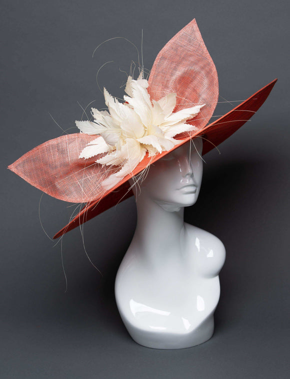 THG2491 - Coral Sinamay Hat with Ivory Feather Centerpiece