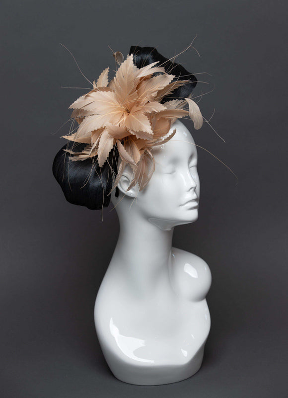 THG2483 - Nude and Black Feather and Silk Abaca Fascinator