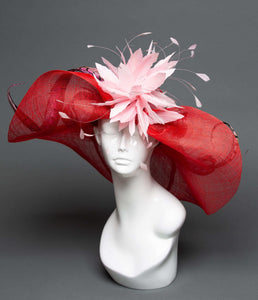 THG2178 - Floppy Red Hat with Baby Pink Details
